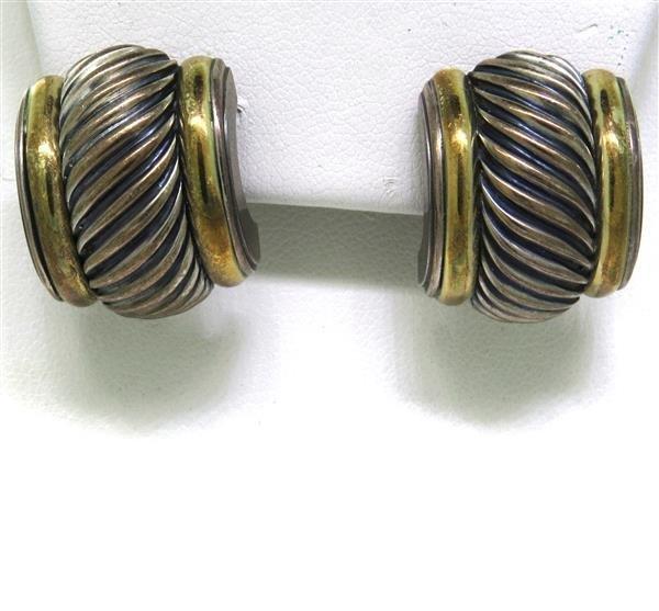 David Yurman 14K Gold Sterling Silver Cable Earrings