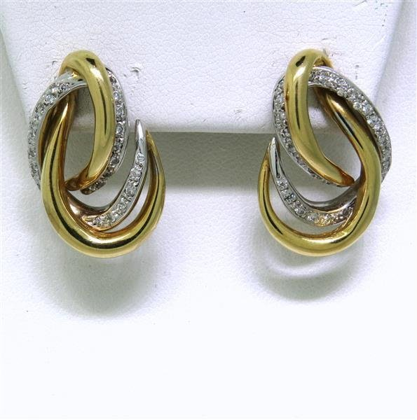 Vintage 14K Two Tone Gold Diamond Earrings