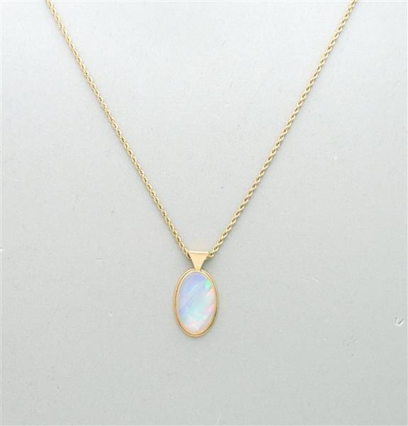 Vintage 14K Gold Opal Pendant Necklace