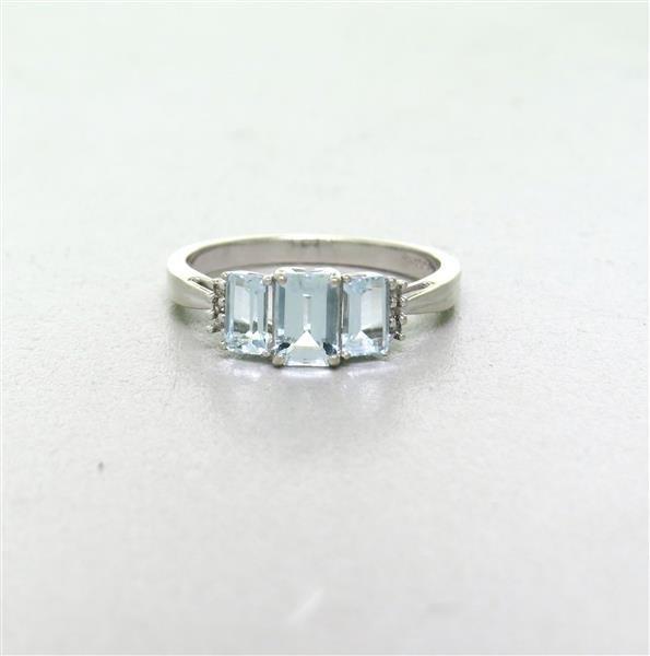 10k Gold Blue Topaz Diamond  Ring