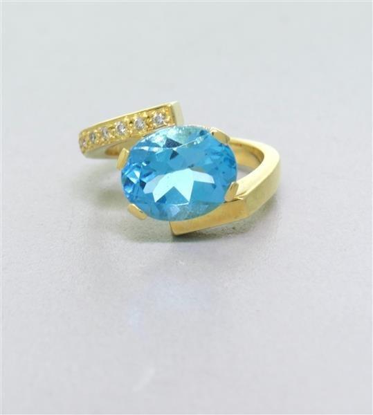 18k Gold Blue Topaz Diamond Ring