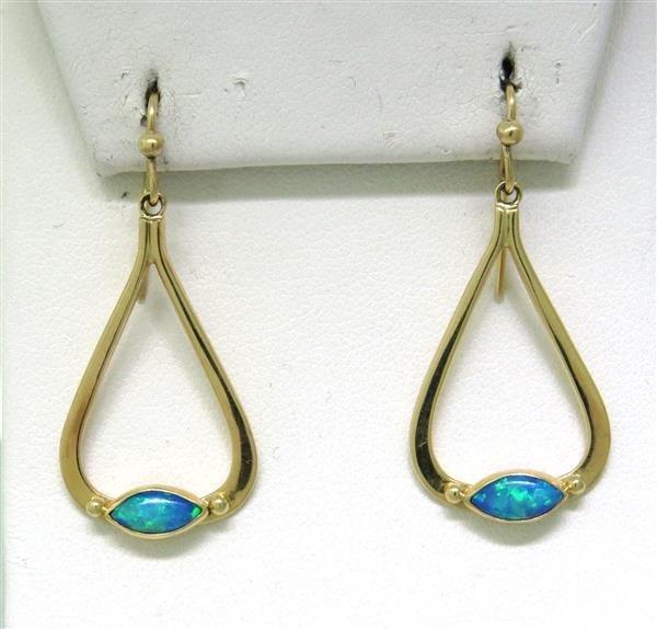 Modern 14k Gold Opal Drop Earrings