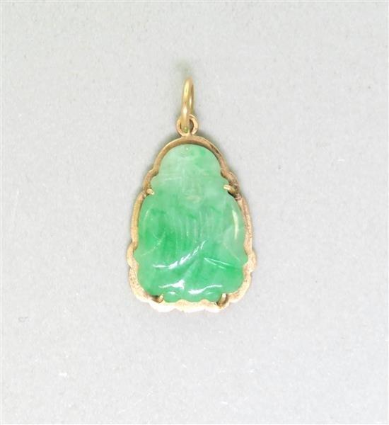 Vintage Asian 14K Gold Jade Pendant