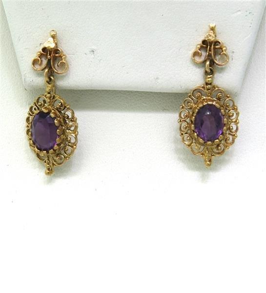 Antique 14K Gold Amethyst Dangle Earrings