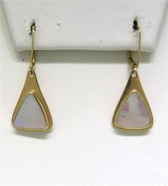 14K Gold Mother of Pearl Dangle Earrings