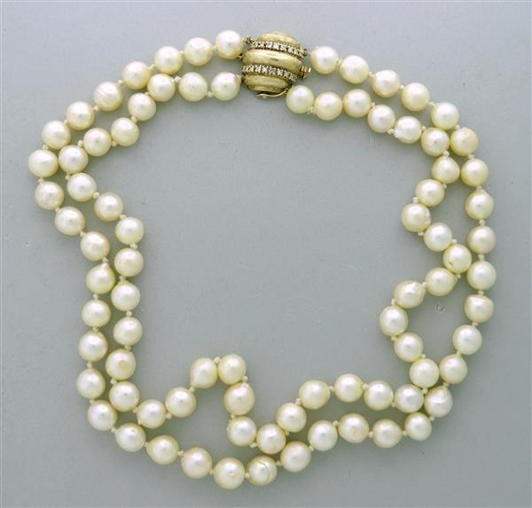 Vintage 14K Gold Diamond Double Strand Pearl Necklace