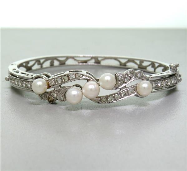 14K Gold Diamond Pearl Bangle Bracelet