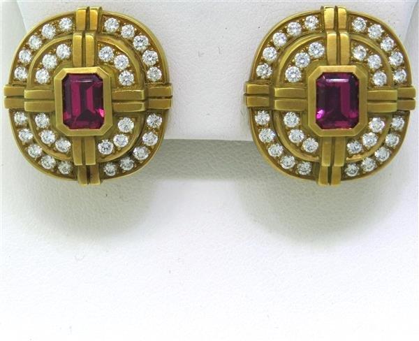 Kieselstein Cord 18k Gold Diamond Tourmaline Earrings