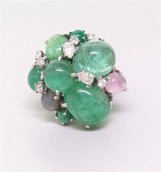 Retro 14k Gold Star Sapphire Diamond Emerald Ring