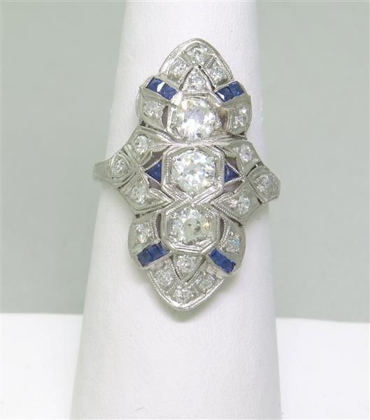Art Deco Filigree Platinum Diamond Sapphire Ring