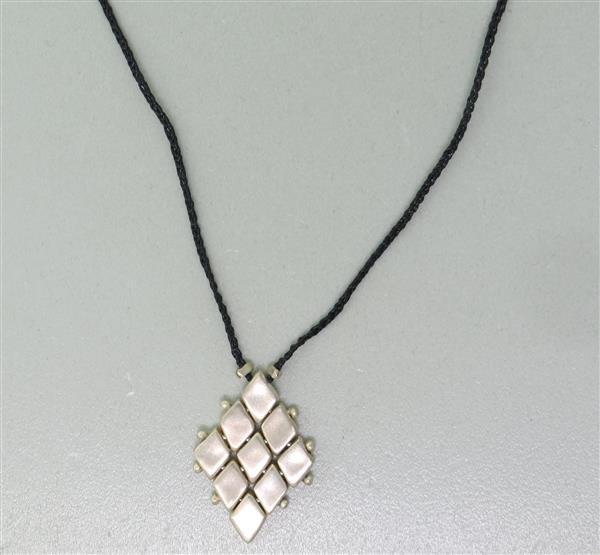 Jill Platner Sterling Cord Pendant Necklace