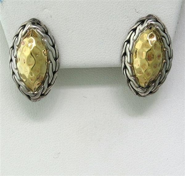 John Hardy Sterling 22k Gold Earrings