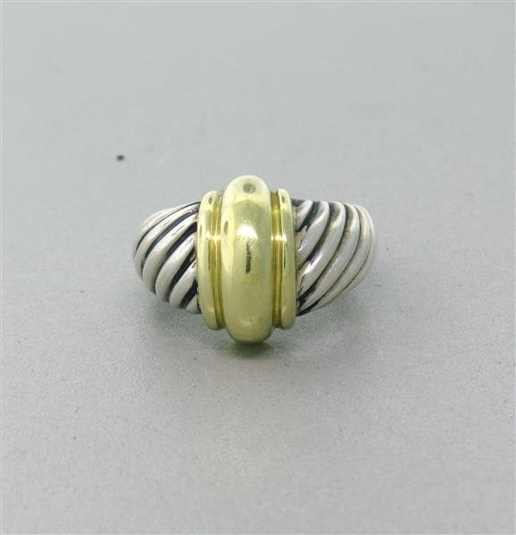 David Yurman Sterling 14k Gold Dome Cable Ring