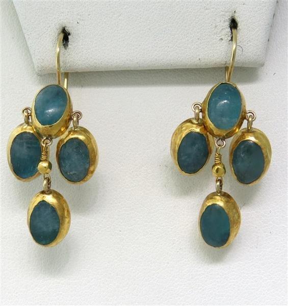 Gold Silver Blue Stone Drop Earrings