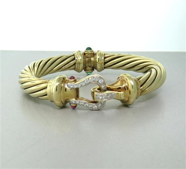 David Yurman 14K Gold Emerald Ruby Diamond Bangle