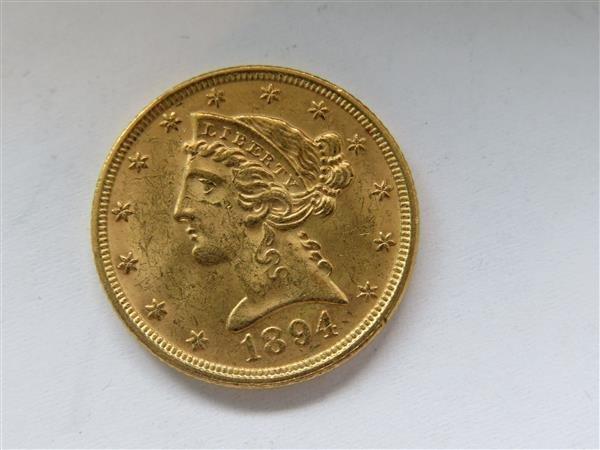 1894 Half Eagle 5 Dollar Gold US Coin