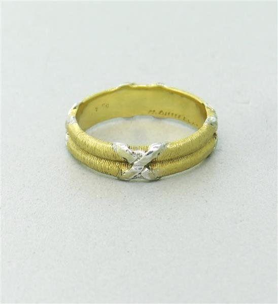 Mario Buccellati 18k Gold  X Band Ring