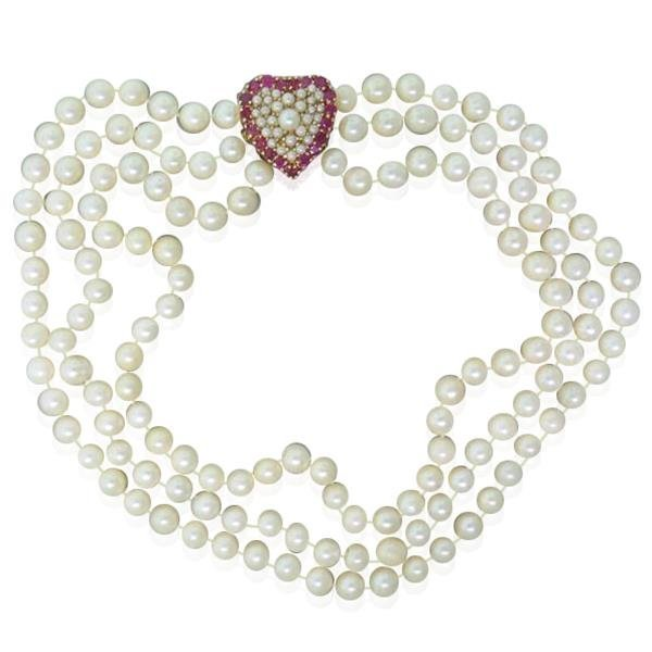 14k Gold Pearl Ruby Heart Clasp Necklace