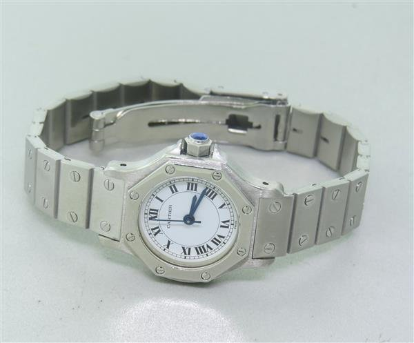Cartier Santos Stailess Steel Hexagonal Automatic Watch - 3