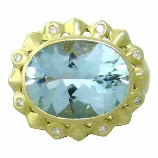 14K Gold Blue Gemstone Diamond Cocktail Ring