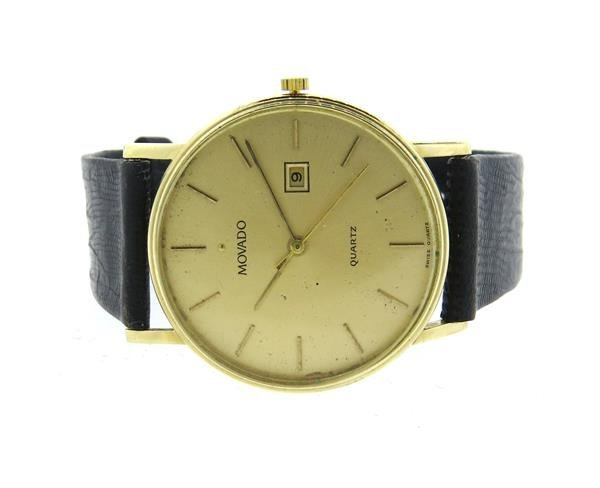 Movado 14k Gold Leather Band Watch