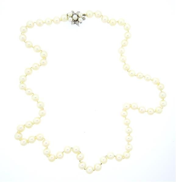 14k Diamond Clasp Pearl Necklace