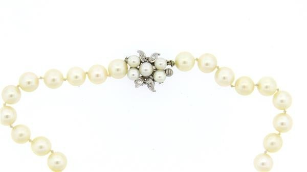 14k Diamond Clasp Pearl Necklace - 2