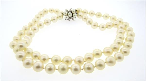14k Diamond Clasp Pearl Necklace - 3