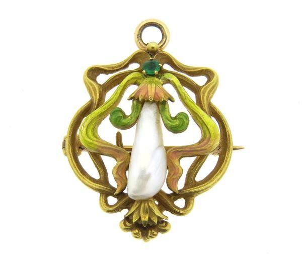 Art Nouveau 14k Gold Enamel Pearl Pendant Brooch