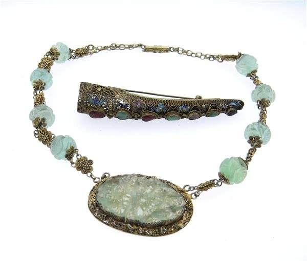 Asian Silver Gemstone Necklace Brooch Lot