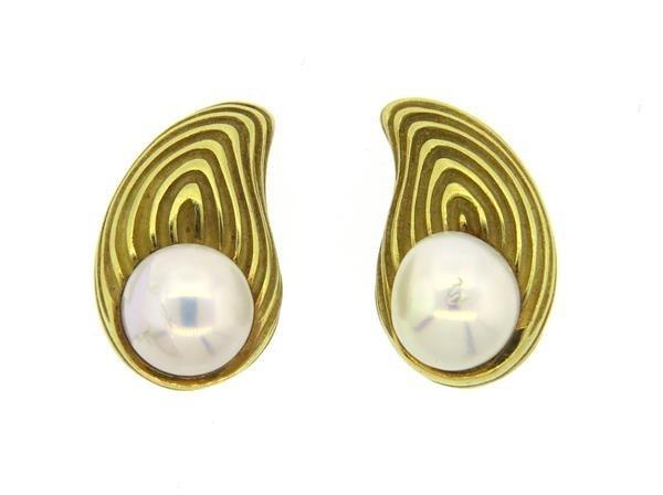 Christopher Walling 18k Gold Pearl Earrings