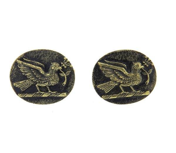 Julius Cohen 14k Gold Bird Oval Cufflinks