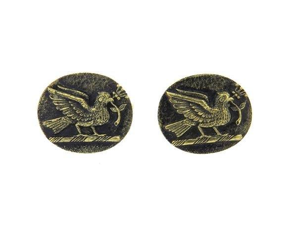 Julius Cohen 14k Gold Bird Oval Cufflinks - 2