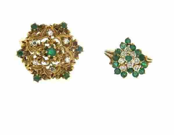 14k Gold Emerald Diamond Ring Lot of 2