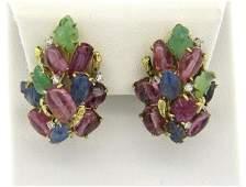 14k Gold Diamond Multicolor Gemstone Earrings