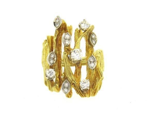 1970s 18K Gold Diamond Cocktail Ring