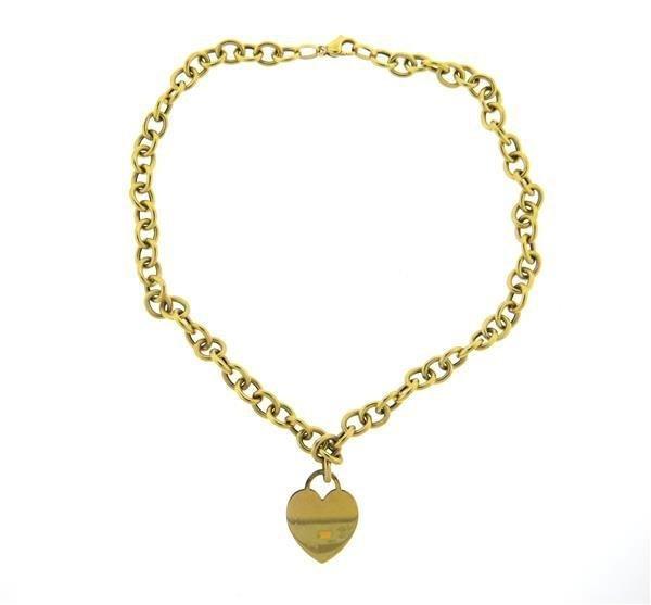 Italian 14K Gold Heart Pendant Link Necklace