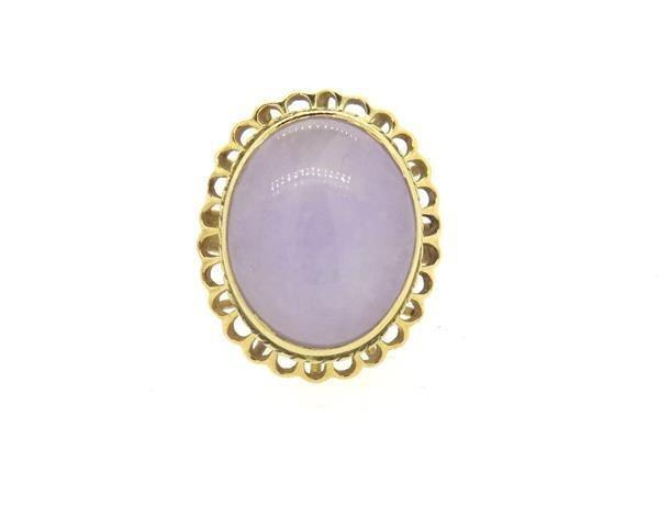 14K Gold Lavender Jade Cocktail Ring