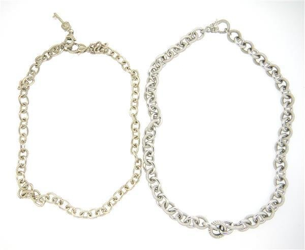 Lot of 2 Judith Ripka Sterling Silver Chain Link