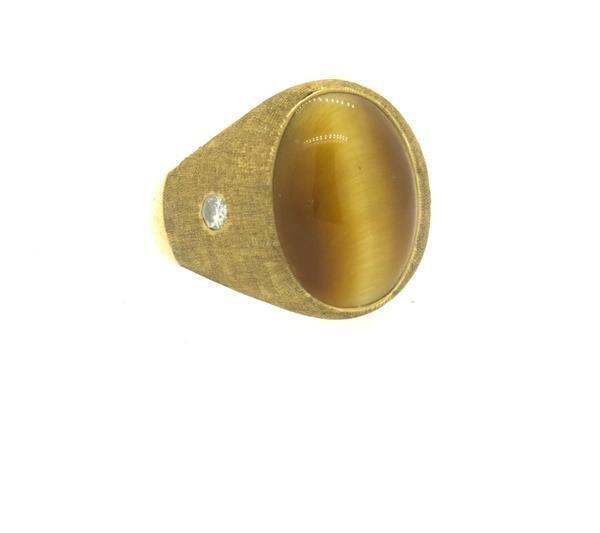 14K Gold Tiger Eye Diamond Gypsy Ring