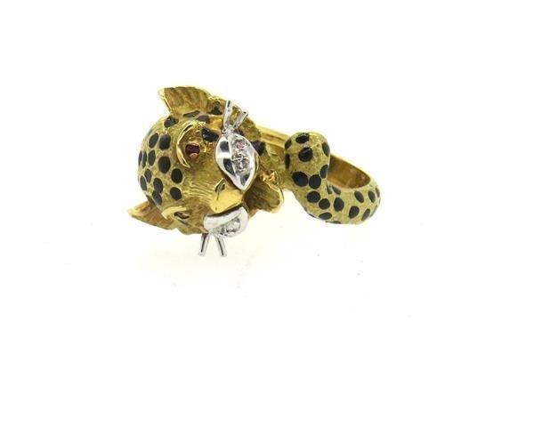 18K Gold Diamond Ruby Leopard Ring