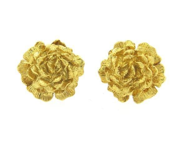 18K Gold Floral Motif Cufflinks