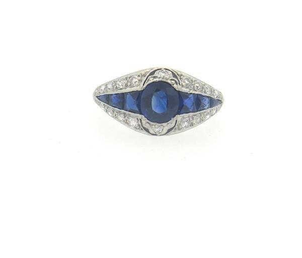 Art Deco Platinum Sapphire Diamond Ring