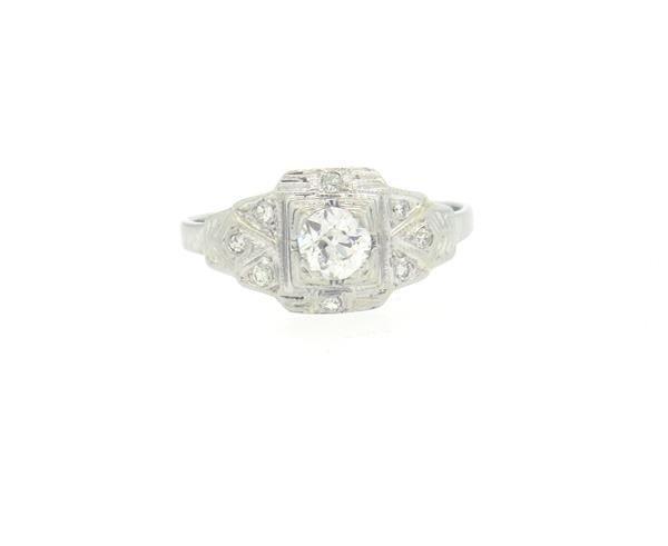 Art Deco 14K Gold Diamond Engagement Ring