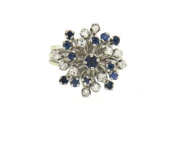 14K Gold Diamond Sapphire Starburst Ring