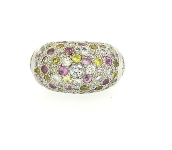 Oversized 14K Gold Diamond Multi Color Sapphire