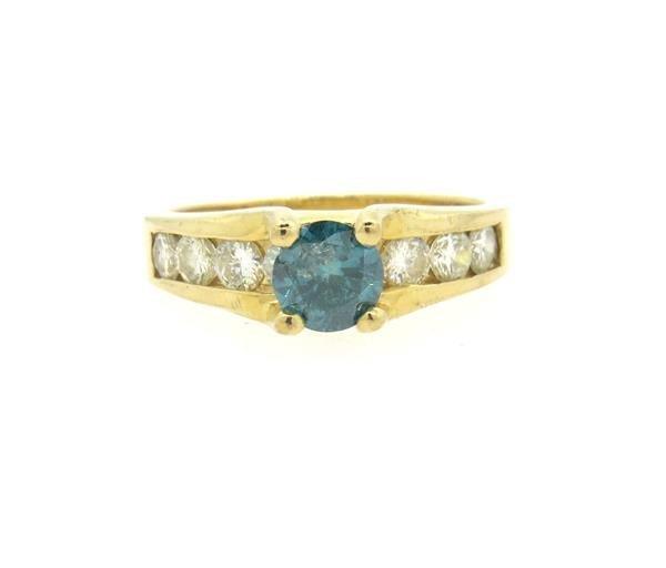 14K Gold Blue Diamond Ring