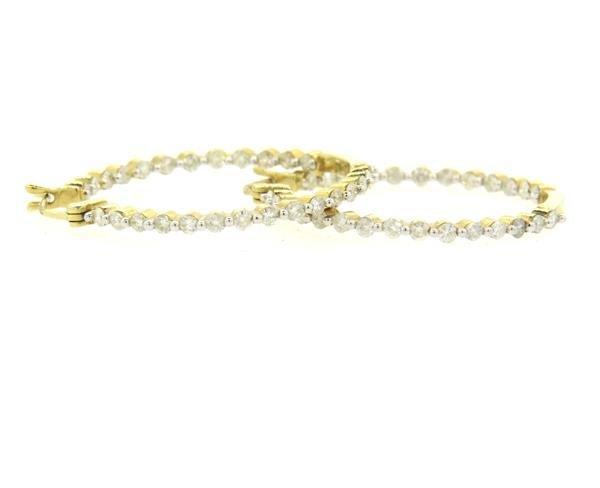 14K Gold 1.50ctw Diamond Hoop Earrings
