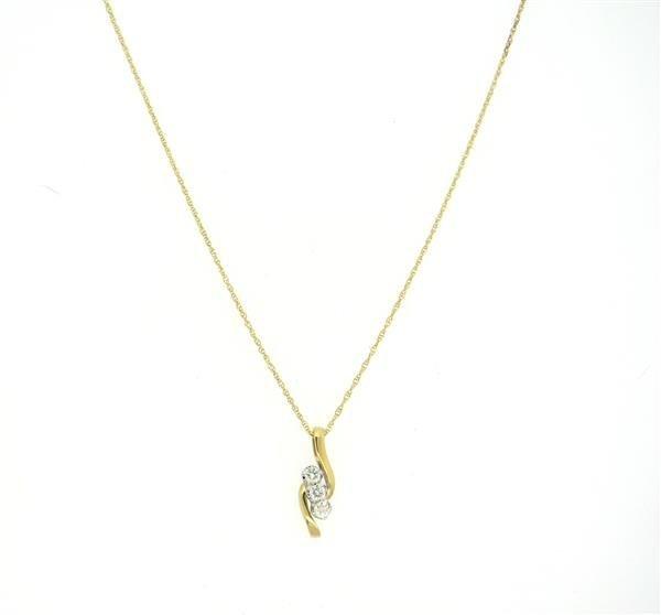 14K Gold Three Diamond Pendant Necklace