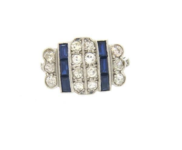 Art Deco Platinum Diamond Sapphire Ring